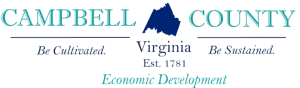 Campbell County Economic Development's teal lettering with navy county boundary centered.