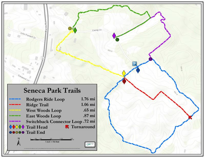 Seneca Commerce Park Trails map for walking and biking with distances for each trail