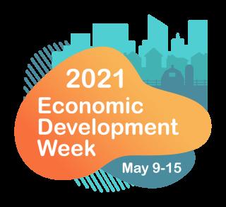 International Economic Development Council's Economic Development Week 2021 Logo with Orange and Blue and White Colors