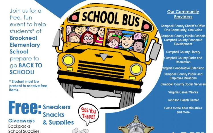 Building Our Community Together Back to School Event Flyer for Brookneal Area Students; August 12 from 1-5PM.