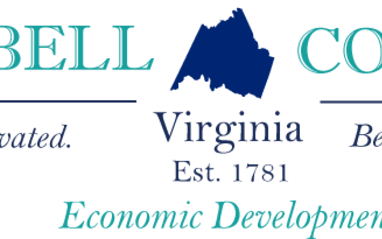 Campbell County Economic Development Logo with teal lettering and navy county boundary