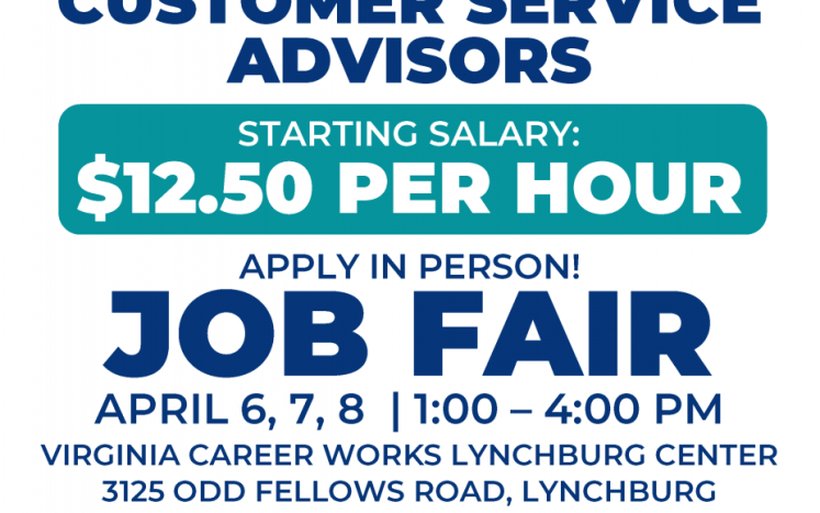 Concentrix Job Fair Flyer with position name, dates, location and contacts for Virginia Career Works Central Region.