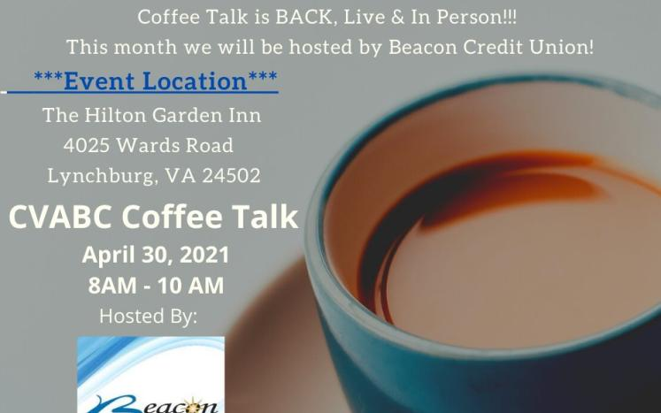 Central Virginia Business Coalition's Coffee Talks Invitation with date, location and time listed.