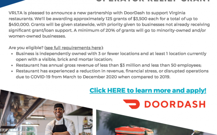 Flyer with DoorDash Restaurant Operator Relief Grant Information, eligibility criteria, and contacts.