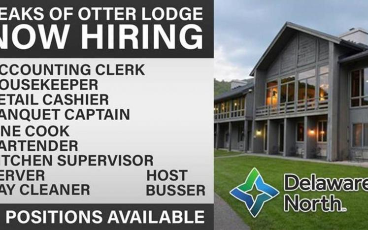 Peaks of Otter Lodge front building image with employment opportunities listed beside image
