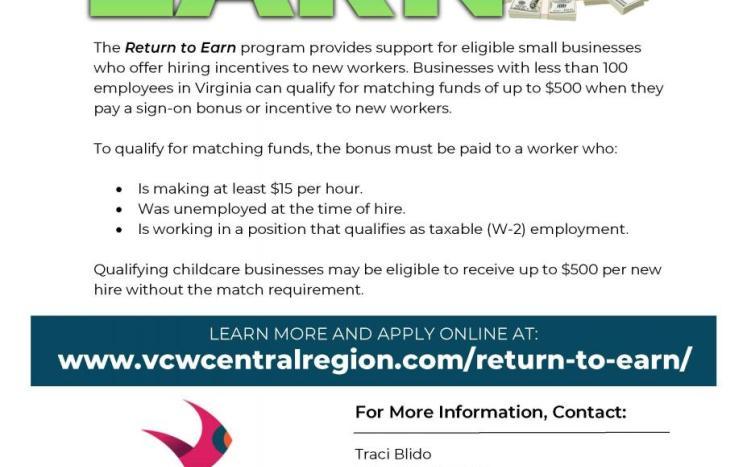 Return to Earn Grant Program Flyer from Virginia Career Works