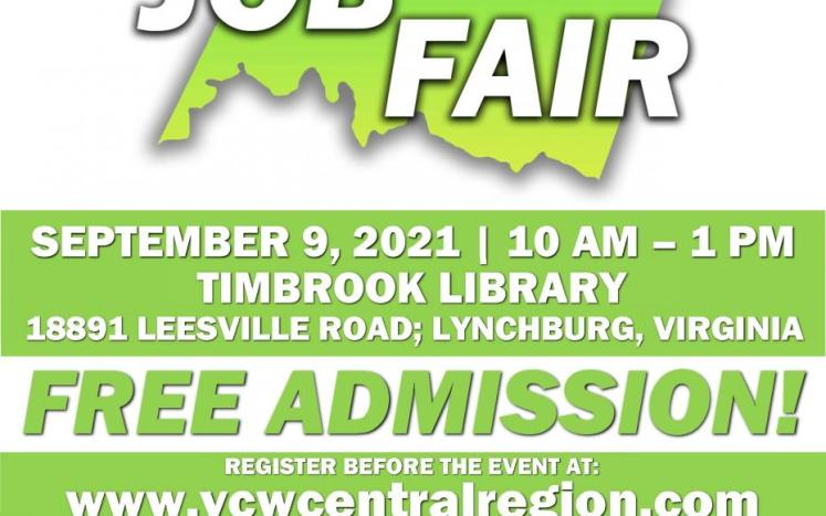 Timberlake Job Fair Flyer with September 9 date from 10 am to 1pm at Timbrook Library, 18891 Leesville Road.